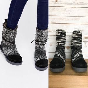 TOMS Nepal Suede Textile Mix Boots Black/White NWT